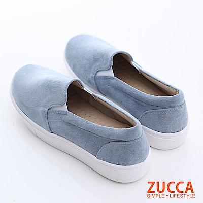 ZUCCA-絨毛布面厚底平底鞋-藍-z6603be