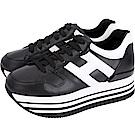 HOGAN Maxi H222 皮革裡黑色厚底繫帶休閒鞋