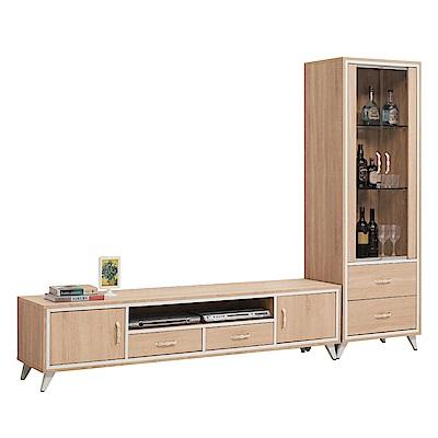 文創集 曼麗時尚8尺木紋電視櫃/視聽櫃組合(展示櫃+電視櫃)-240x40x176cm免組