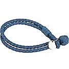 BOTTEGA VENETA 經典羊皮編織雙圈手環(海藍色)
