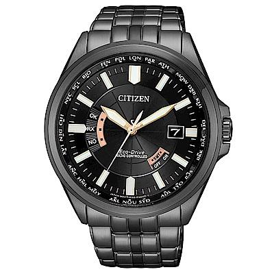 CITIZEN 星辰光動能世界時間電波錶(CB0185-84E)-黑/43mm