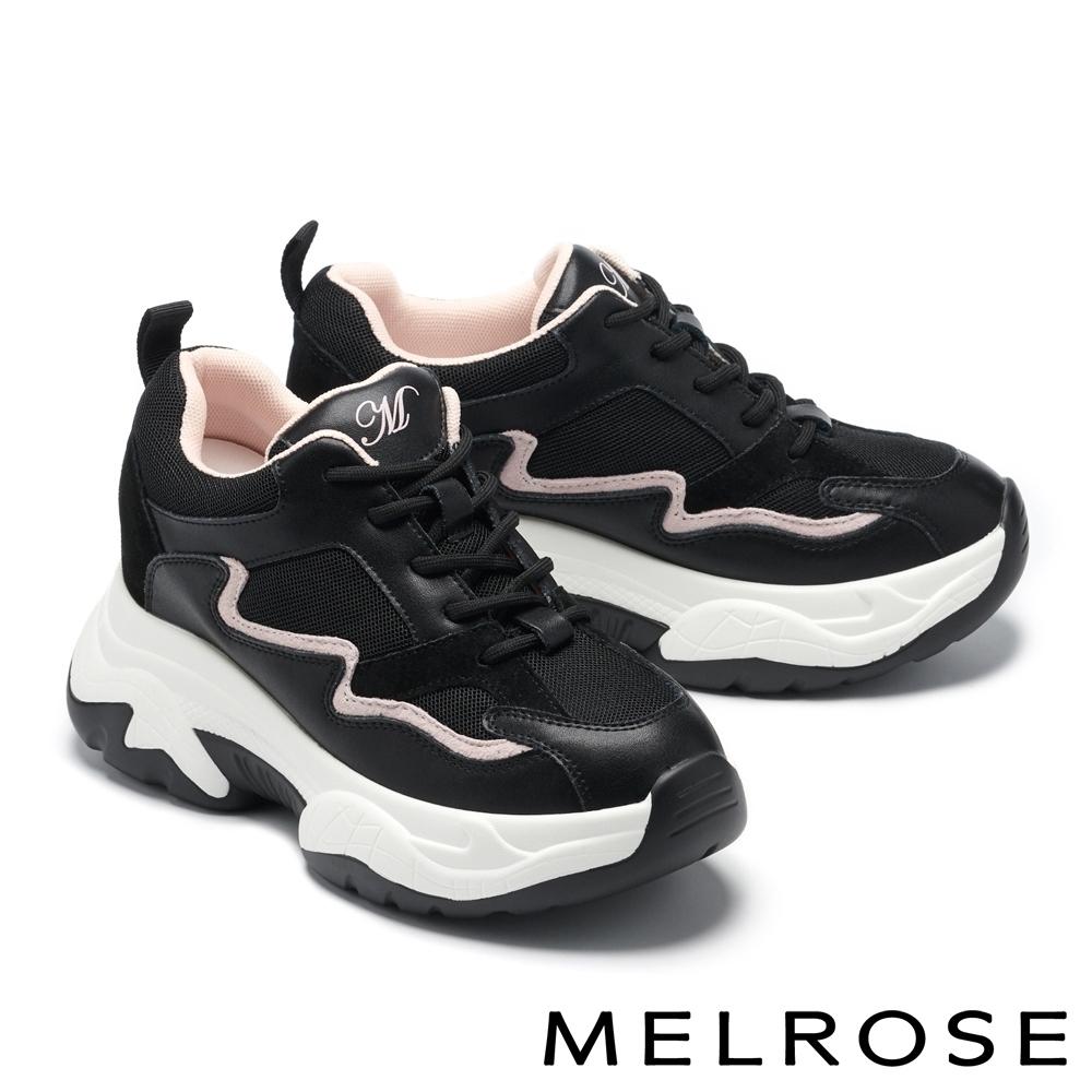 休閒鞋 MELROSE 時髦流線異材質拼接綁帶造型厚底老爹休閒鞋-黑