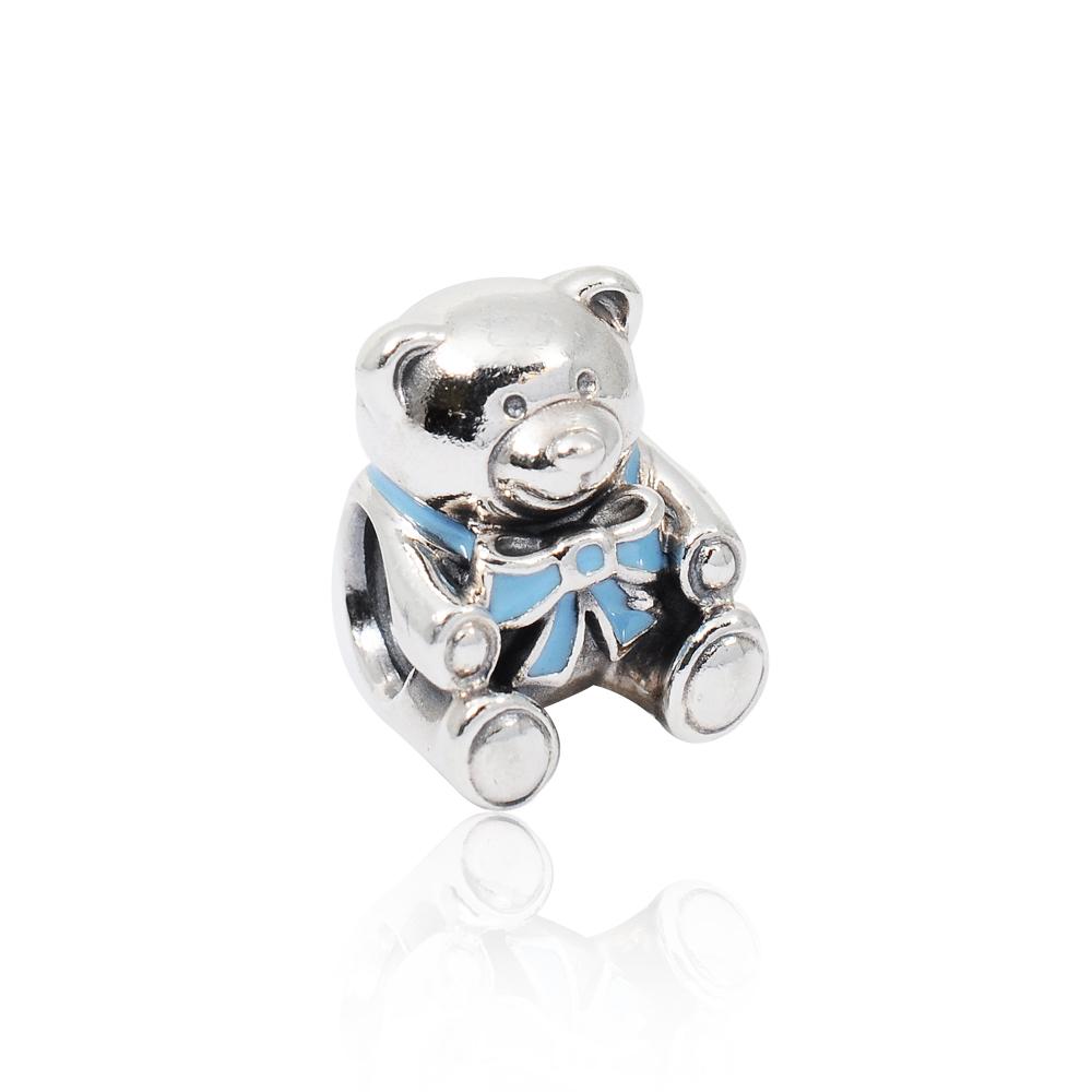 Pandora 潘朵拉 藍色緞帶小熊 純銀墜飾 串珠