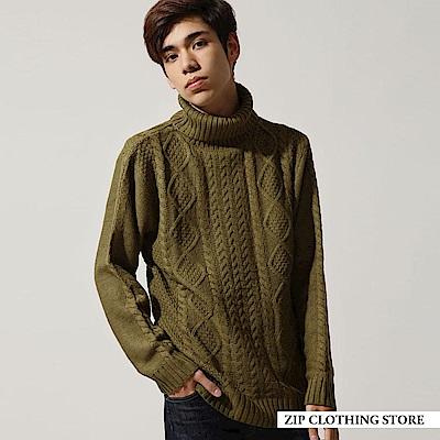 粗編麻花織高領針織衫(20色) ZIP日本男裝