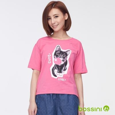 bossini女裝-圓領五分袖印花上衣02粉紅