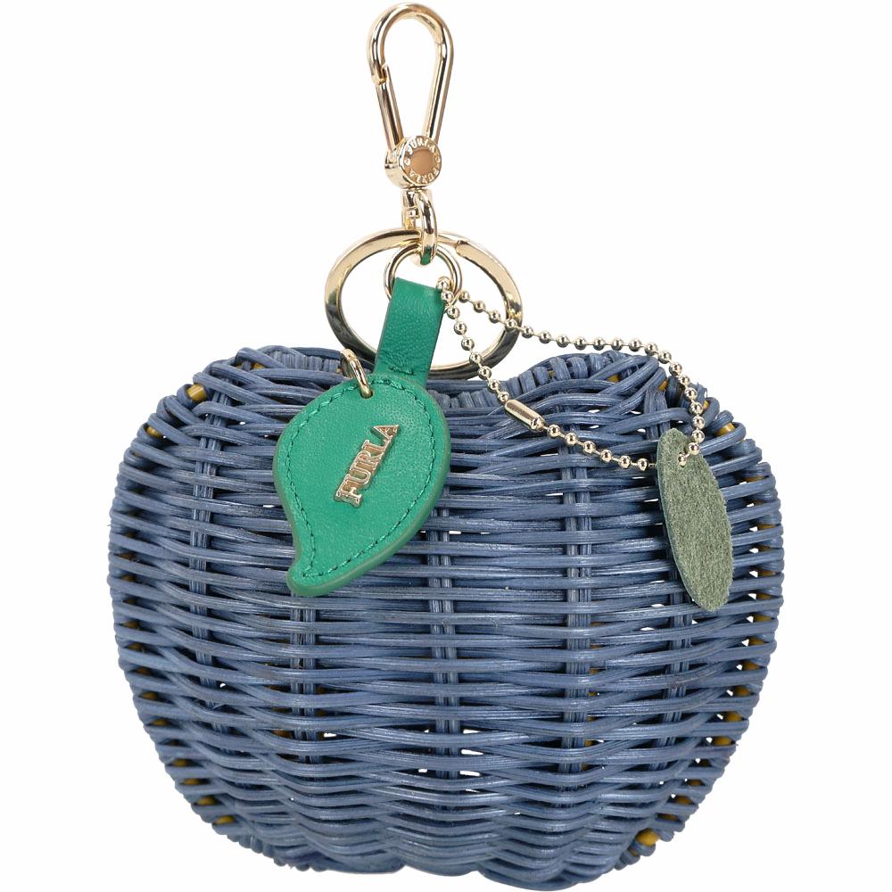 FURLA Ghiotta 蘋果造型手工藤編鑰匙圈(藍色)