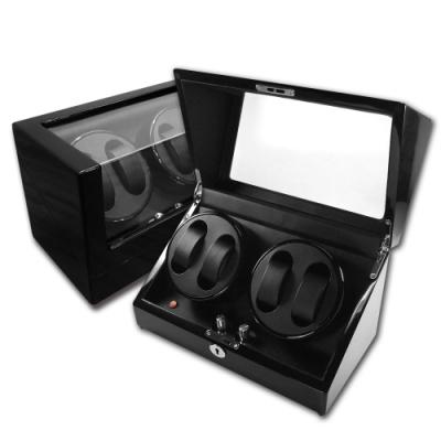 機械錶自動上鍊收藏盒 2旋4入錶座轉動 LED燈 鋼琴烤漆 - 黑色