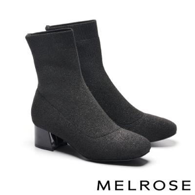 襪靴 MELROSE 摩登時尚彈力銀蔥飛織布粗高跟襪靴-黑
