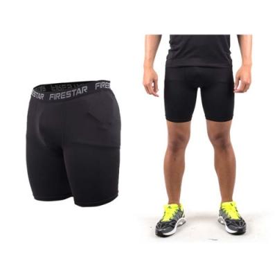 FIRESTAR 男機能緊身短褲-慢跑 路跑 運動短褲 黑