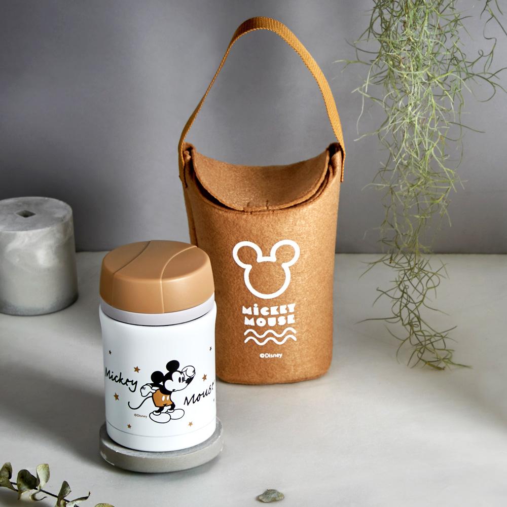 [買一送一] Disney 迪士尼 經典米奇 #304不銹鋼內瓷真空燜燒罐提袋組450ml(快)