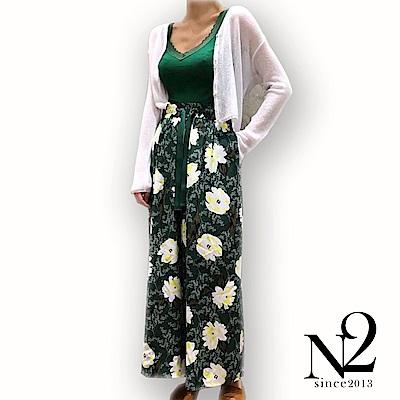 寬褲 延禧宮廷風印花鬆緊綁帶寬褲(綠) N2
