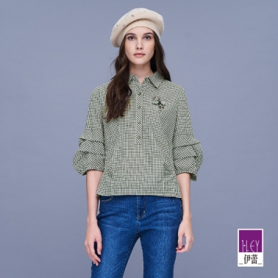 ILEY伊蕾 層次造型袖格紋上衣(綠)