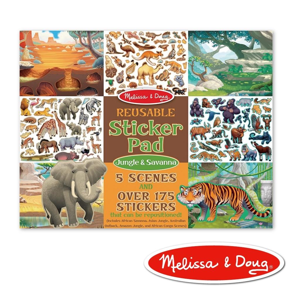 【美國瑪莉莎 Melissa & Doug】 貼紙簿 - 可重複貼紙 - 熱帶叢林動物