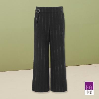 ILEY伊蕾 知性條紋彈性九分寬褲(黑)
