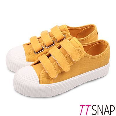 TTSNAP餅乾鞋-細緻帆布三層魔鬼氈厚底鞋 黃