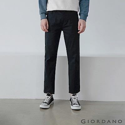 GIORDANO 男裝彈力棉質基本款錐形長褲-09 標誌黑