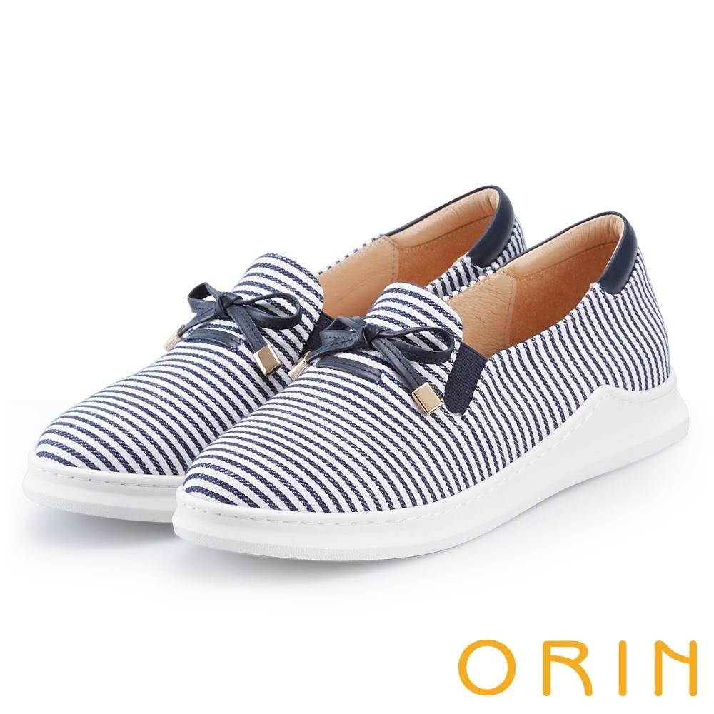 ORIN 條紋質感拼接平底 女 休閒鞋 藍白