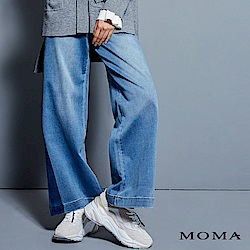 MOMA 水洗刷色牛仔寬褲