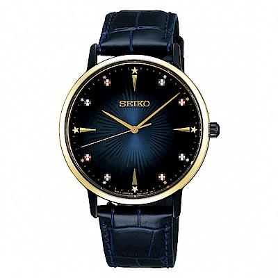 SEIKO 精工 SPIRIT簡約時尚真皮手錶SCXP132J-藍X金/38mm