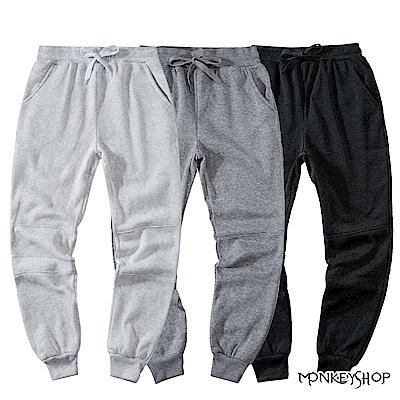 Monkey Shop MIT台灣製棉質內刷毛運動休閒束口鬆緊長褲-3色