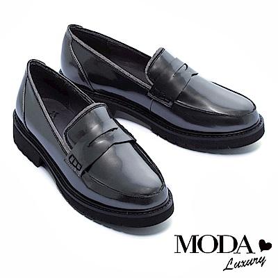 厚底鞋 MODA Luxury 經典復古學院風百搭鏡面樂福厚底鞋 -灰