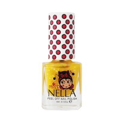 英國 Miss Nella 可撕式水性指甲油 兒童孕婦專用彩妝 #亮片蜜糖黃