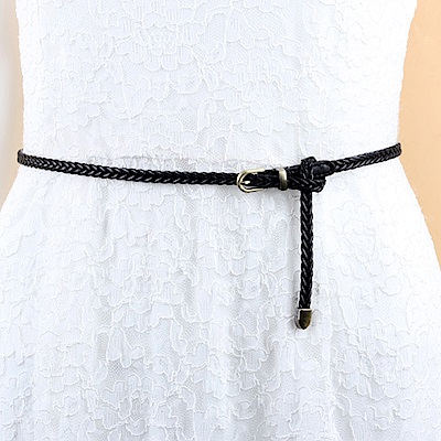 狐狸姬  亞緻銅編織細腰帶腰鍊皮帶(單腰帶)