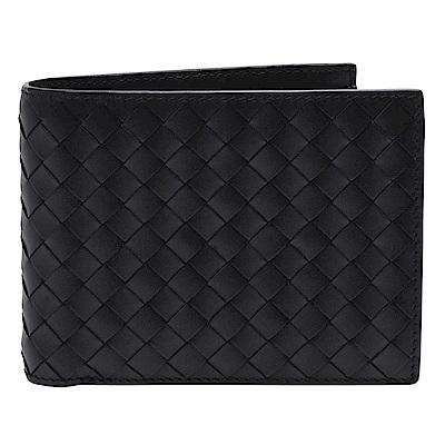 BOTTEGA VENETA 經典編織牛皮多夾層萬用零錢袋短夾(黑色-附零錢袋)