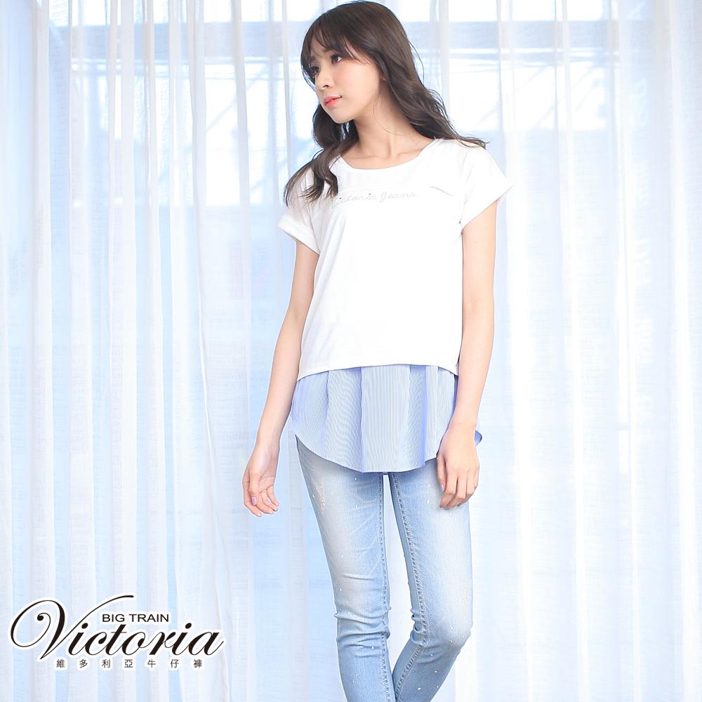 Victoria 低腰雙口袋白點9分褲-女-中藍