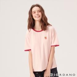 GIORDANO 女裝清新水果刺繡短袖T恤-29 草莓粉紅色