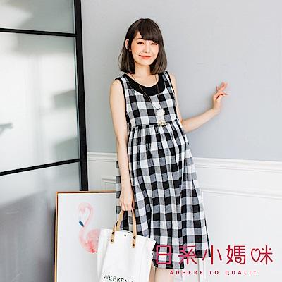 日系小媽咪孕婦裝-大格子雙口袋高腰無袖棉麻洋裝 (共二色)
