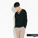 H:CONNECT 韓國品牌 男裝-V領撞色針織上衣-黑