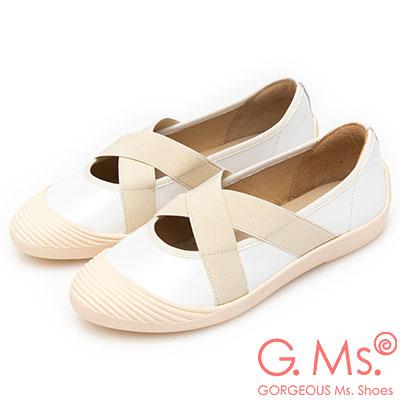 G.Ms. MIT系列-貝殼頭牛皮交叉鬆緊帶休閒便鞋-白色