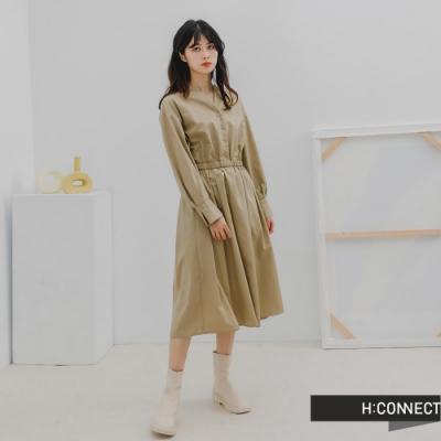 H:CONNECT 韓國品牌 女裝 -氣質打摺設計收腰長洋裝-卡其色