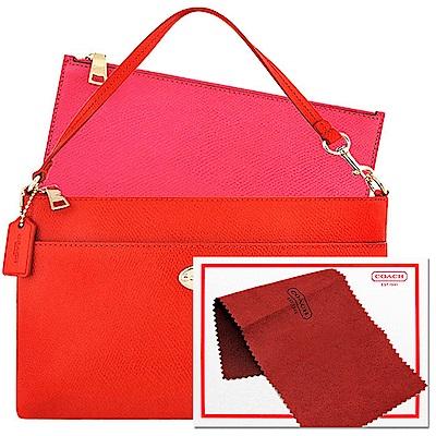 COACH 橘紅色防刮皮革手提包-附可拆拉鍊長夾+COACH 紅色皮鞋保養擦拭布