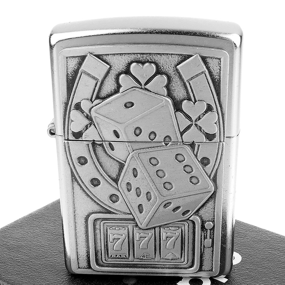 ZIPPO 美系~Lucky 7-幸運骰子立體圖案貼飾打火機