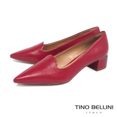 Tino Bellini 巴西進口ㄇ形鞋口尖頭中跟鞋_紅