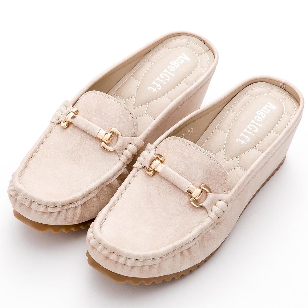 River&Moon舒壓軟墊 馬蹄扣增高穆勒莫卡辛厚底鞋 米杏