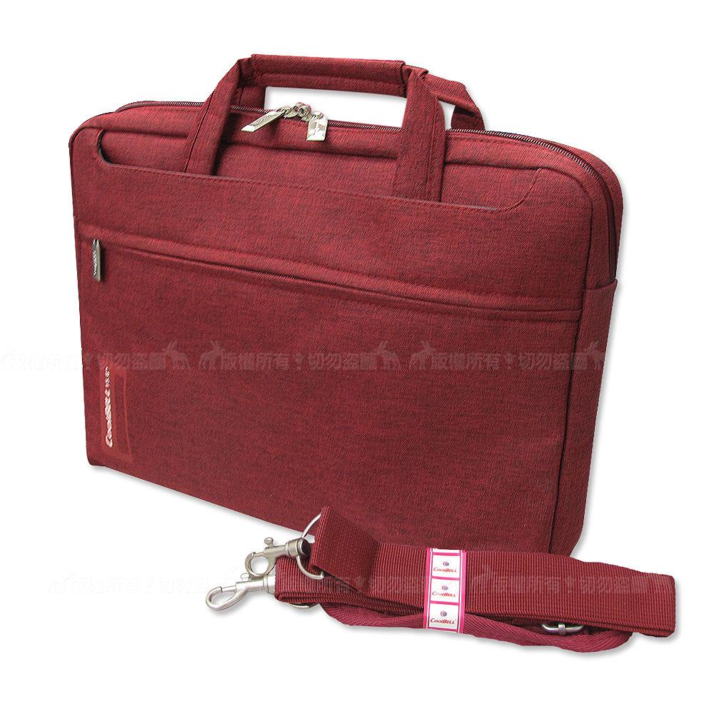 PS學院風 15.6吋 雙拉鍊防撥水手提肩背兩用平板筆電包 秋楓紅