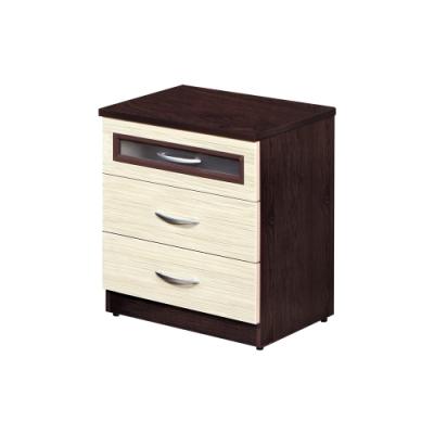 Birdie南亞塑鋼-萊爾2尺三抽塑鋼床頭櫃/抽屜收納櫃/置物櫃(胡桃色+黃橡木色)-60x43x67cm