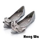 Hong Wa 可愛荷葉邊飾金蔥尖頭娃娃鞋 - 銀