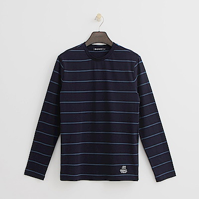 Hang Ten - 男裝 - 質感條紋圓領上衣-藍色