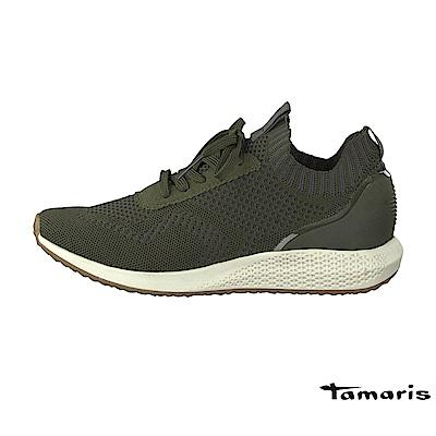 TAMARIS(女) TAVIA 柔美色調舒適彈力蕾絲雙色調運動鞋- 橄欖綠