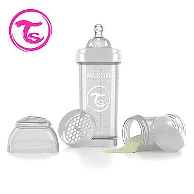 Twistshake 瑞典時尚 彩虹奶瓶/防脹氣奶瓶260ml/奶嘴口徑0.5mm-星鑽白