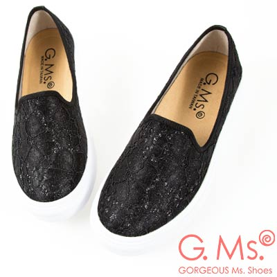 G.Ms. MIT系列-極輕量樂福懶人休閒鞋-蕾絲黑