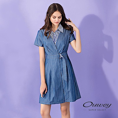 OUWEY歐薇 格紋剪接輕薄牛仔假兩件洋裝(藍)