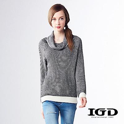 IGD英格麗 針織條紋圍巾領拉克蘭袖50%羊毛上衣-黑色