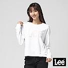 Lee 圓領釘扣開肩設計長袖厚TEE/白色