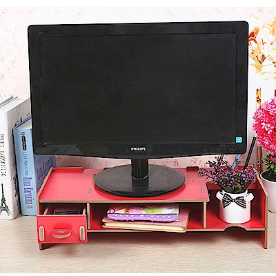 半島良品 多功能DIY木質電腦螢幕架 小抽-西瓜紅