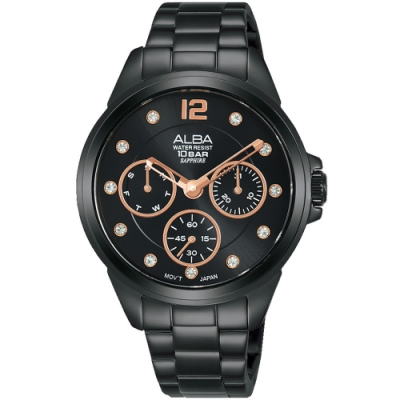 ALBA雅柏 潮流時尚女錶(AP6441X1)-黑/36mm